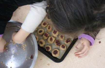 Holiday Rumble and Raspberry Thumbprint Cookies