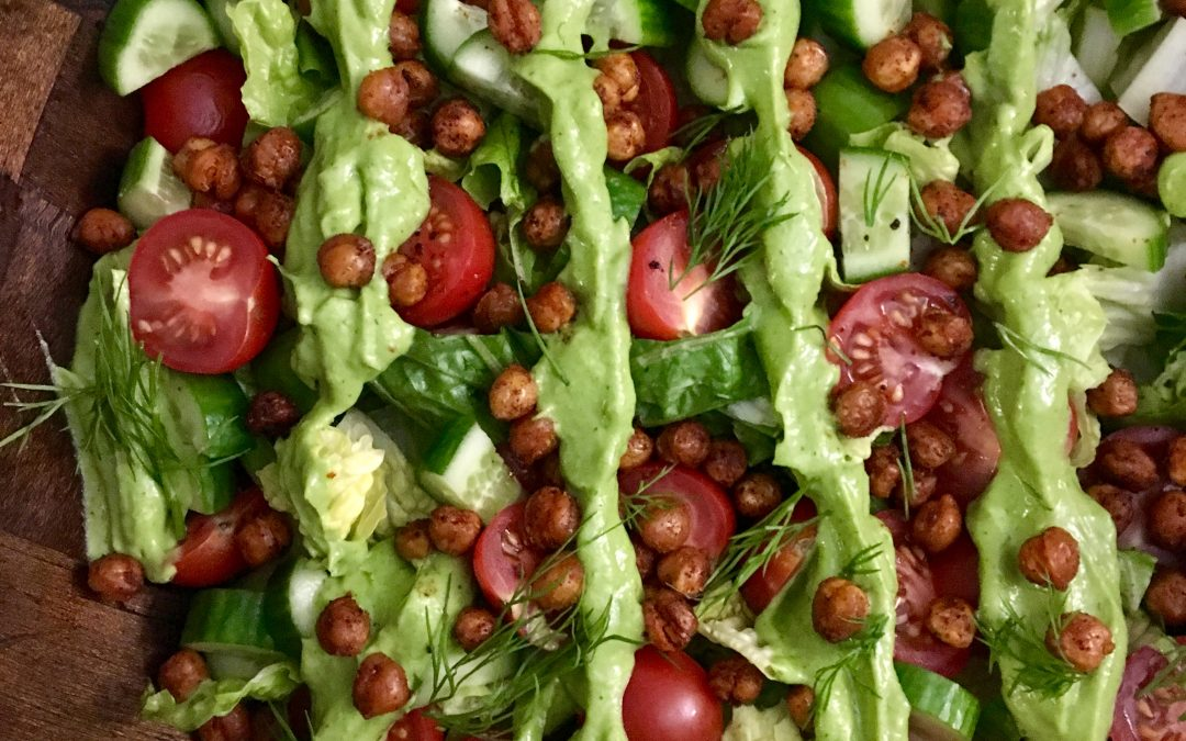 Crispy Chickpea Salad with Avocado-Dill Dressing