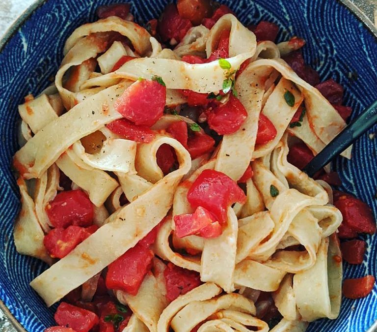 Homemade Pasta with Can-O-Tomato Sauce